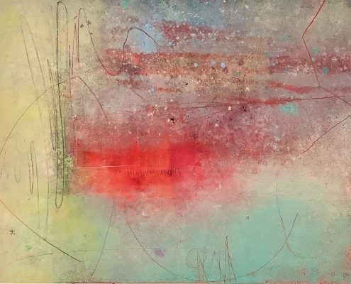 Liminal Space (l) 16x20 Oil+Cold Wax+Mixed Media on Paper