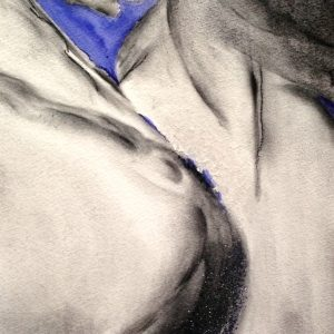 Blue and Black Charcoal and Ink on Paper 20.5x17 framed (1)